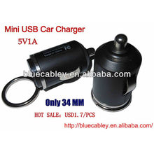 5V1A 34mm mini usb car charger for iPhone4/4S/5