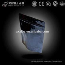 Bolso de embalaje de plástico de color negro con cierre de cremallera