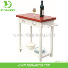 White Classical Mdf Kitchen Trolley With Solid Wood Table Top