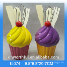 Wholesale cutely ceramic utensil holder in icecream shape