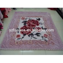 Light Purple double Sides Polyester Flower Printed Raschel Mink Blankets