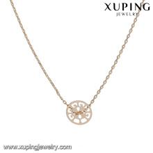 44169 collier de bijoux en alliage de cuivre populaire 18k delicat élégant collier de chaînes en plaqué or