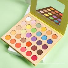 Wholesale Custom Logo Design My Own Yellow Eyeshadow Palette 30 Pan Eyeshadow Palette Makeup with Mirror