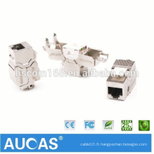 Fournisseur d'usine Cat7 FTP 10GB Keystone Jack CE ROHS approuvé Cat7 Modular Jack 8p8c Shield Toolless