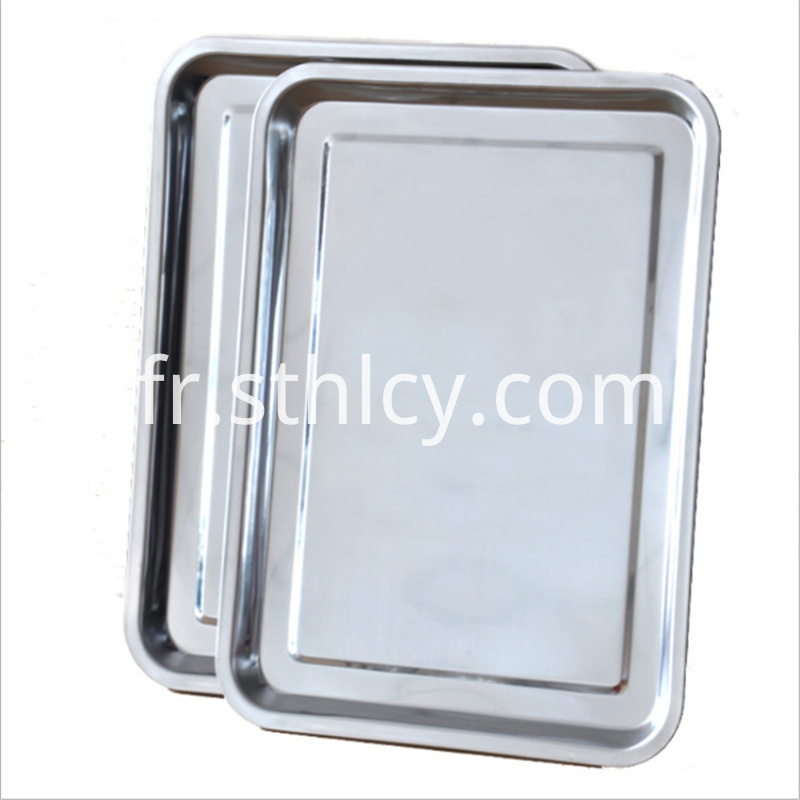 Barbecue stainless steel shallow square plate