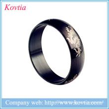 Alibaba italien anneau masculin anneaux en titane noir bijoux dragon design anneau en acier