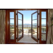 Nuevo diseño hermosa puerta de cristal de madera del balcón, puerta francesa