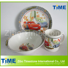 3PCS Ceramic Kids Porcelain Dinnerware