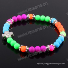 Beautiful Plastic Beads with Zinc Alloy Accessory Cross Bracelet