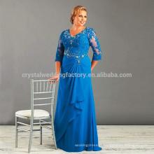vestido de festa longo 2017 New Evening Gowns Plus Size Long Half Sleeve Royal Blue The Mother Of Bride Dress MM917