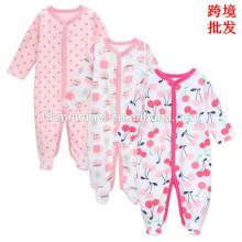 2017 China fábrica al por mayor precio invierno bebé mameluco algodón orgánico impreso bebé ropa mameluco recién nacido