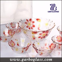 7PCS Colors Engraved Flowers Glass Bowl Set/Glassware Set