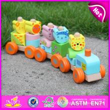 2015 vente chaude en bois blocs train ensemble jouets véhicules animaux jouets, mignon en bois blocs d'animaux jouet train, tirer ligne jouet train w04a066