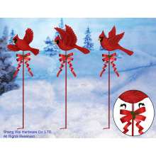 Metal Cardinal Garden Stakes - Set of 3