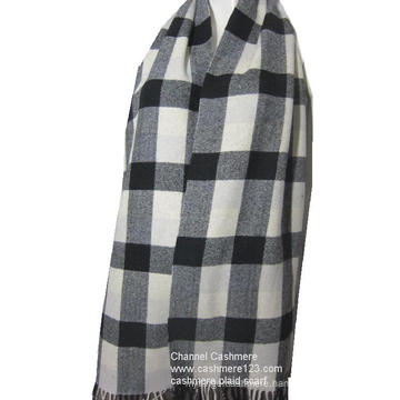 100% wool ivory black check scarf
