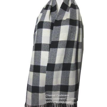 100% шерсть слоновая кость чёрный проверка шарф