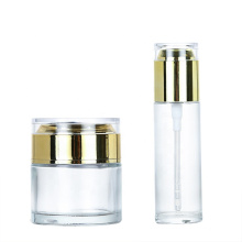 Empty Refillable 30g 50g 40ml 50ml 80ml glass cosmetic lotion bottle cream cosmetic jar with lid