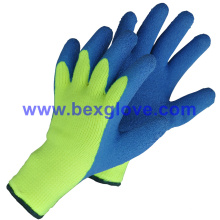 7 Gauge Acrylic Liner, Terry extra grueso hecho punto y cepillado, revestimiento de látex, recubrimiento de pulgar completo, guantes de seguridad