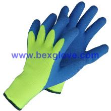 Doublure en acrylique à 7 épaisseurs, extra large épais Terry tricoté et brossé, revêtement latex, revêtement anti-pouls, gants de sécurité