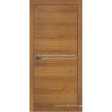 Puerta de entrada chapada de madera rústico, diseño de puerta de chapa de madera de pino tradicional