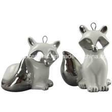 Ion Plating Ceramic Pendant, Porcelain Fox Gift Hang Decoration Accessory