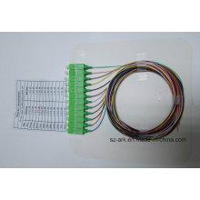 Sc / APC 12 de color codificado de fibra óptica Pigtail