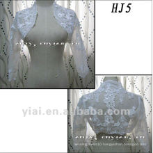 HJ5 Free Shipping High Quality Custom-made Beautiful Applique Half-Length Sleeve White Tuller Wedding Jacket