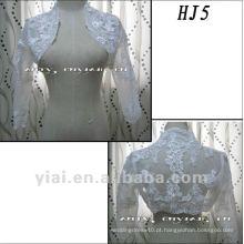 HJ5 Frete Grátis Alta Qualidade Custom Made Beautiful Applique Meia-Comprimento Branco Tuller Casaco Casaco