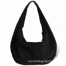 Canvas Tote Bag with Zippers, Made of 12oz Black Canvas, Suitable for Shopping