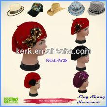 Elegante novo design inverno bonito inverno morno chapéu de lã, lsw28