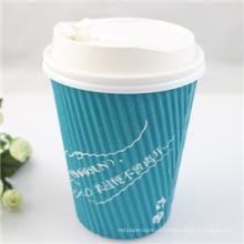 Copo de café quente dobro descartável do papel de parede 8oz com tampa
