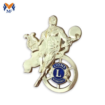 Insignia de pin de metal gold lion club event