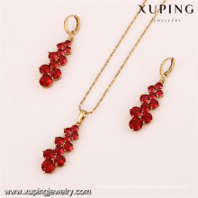 61775 xuping 18k newest zircon design dubai gold jewelry set
