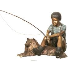 сад украшения жизнь Размер рыбалка бронзовые скульптуры мальчик с собака статуя