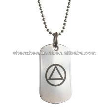 AA Alcooliques Anonymes Unité Symbole pendentif rond Collier en acier inoxydable Tag chien