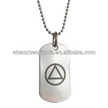 AA Alcoholics Anonymous Unity Symbol round pendant Stainless Steel Dog Tag Necklace