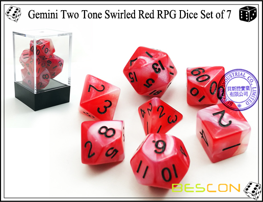 Gemini Two Tone Swirled Red RPG Dice Set of 7-1