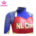 Metallic Fabric Navy Blue Cheer Uniform