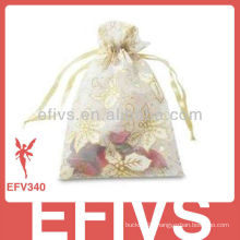 White Printed Jeweled Organza Bags With Drawstring