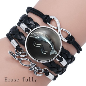 Game of Thrones Stark Wolf Glass Domed Logo Braided Leather Bracelet