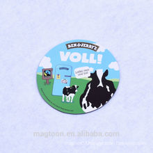 cheap dairy cow design promotional round shape double side paper fridge magnets for advertising