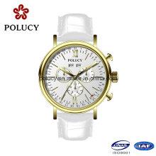 Chronograph Herren Analog Armbanduhr mit echtem Leder