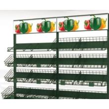Multi-standard fruit and vegetable racks in the supermarket
