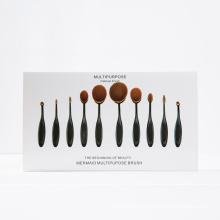 10PCS Black Plastic Handle Oval Cosmetic Brush Set with White Box
