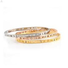 Ahueca hacia fuera los números romanos la pulsera cristalina del brazalete del pun ¢ o de la joyería del acero inoxidable 316L