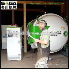 Plywood drying machine with HF heating system