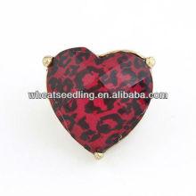 Exagerado leopardo coração fantasia meninas anéis de dedo grande para as mulheres