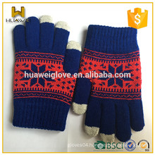100% acrylic octagon jacquard Kids Knitted winter gloves with fingers