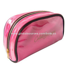 Cosmetic Bag with Metal Zipper Closure, Outer Piping for Good Shape, OEM Designs Welcomed