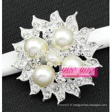 Bijouterie à la mode bijoux en perles imitation floral broche en cristal ivoire